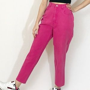 RARE VINTAGE HIGH WAIST RISE HOT PINK MOM JEANS